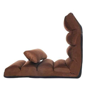 Stylish  Folding Lazy Sofa Chair with Pillow-Coffee - Color: Coffee - NorCal Cyber Sales