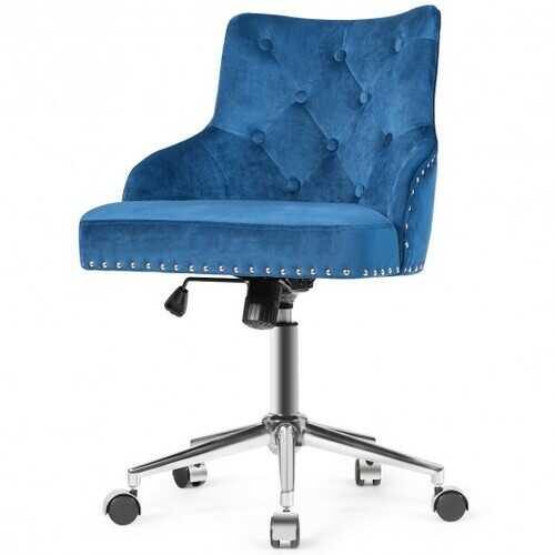 Tufted Upholstered Swivel Computer Desk Chair with Nailed Tri-Blue - Color: Blue - NorCal Cyber Sales