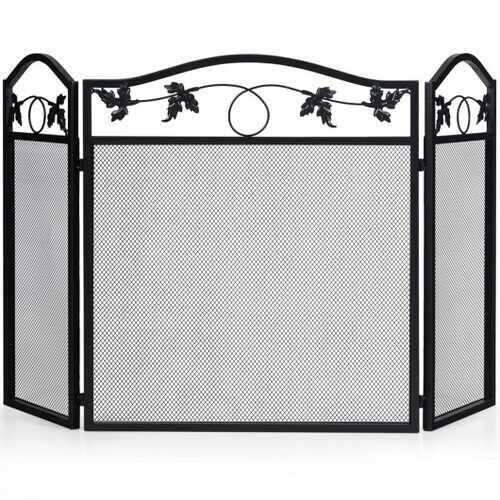 3 Panel Foldable Steel Fireplace Screen Spark Guard Fence - NorCal Cyber Sales