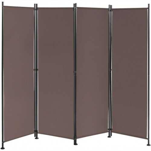 4-Panel Room Divider Folding Privacy Screen-Coffee - Color: Coffee - NorCal Cyber Sales