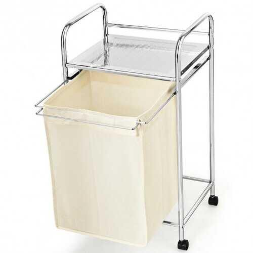 Laundry Hamper Basket Cart with Shelf and Removable Bag - NorCal Cyber Sales