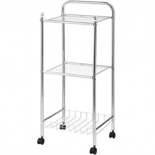 3 Tier Mesh Wire Organizers Rolling Utility Cart with Wheels for Bathroom - NorCal Cyber Sales