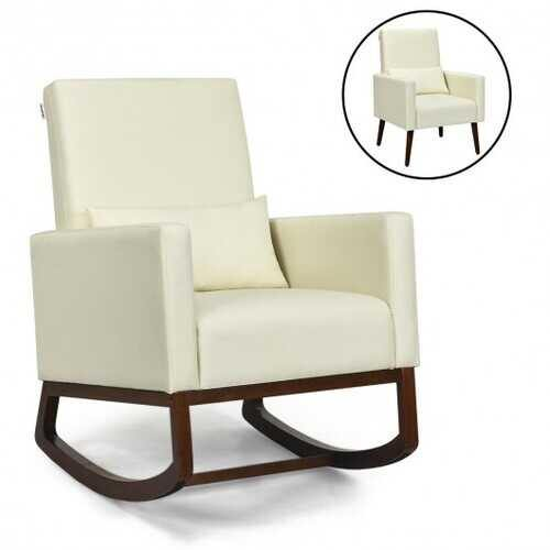 2-in-1 Fabric Upholstered Rocking Chair with Pillow-Beige - Color: Beige - NorCal Cyber Sales