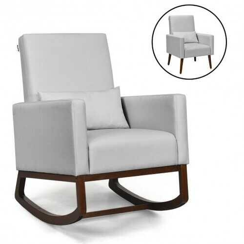 2-in-1 Fabric Upholstered Rocking Chair with Pillow-Light Gray - Color: Light Gray - NorCal Cyber Sales