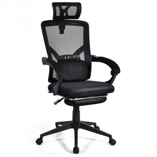 High Back Office Recliner Chair with Adjustable Headrest and Footrest - NorCal Cyber Sales
