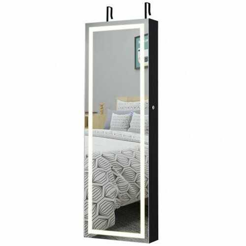 Door Wall Mount Touch Screen Mirrored Jewelry Cabinet-Black - Color: Black - NorCal Cyber Sales