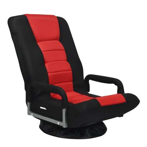 360-Degree Swivel Gaming Floor Chair with Foldable Adjustable Backrest-Red - Color: Red