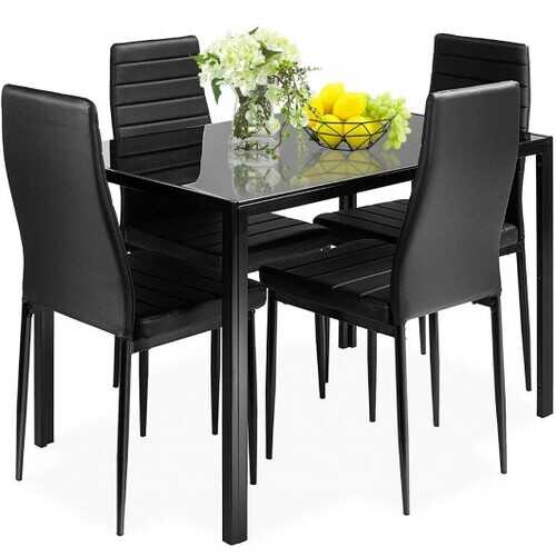 5 pcs Metal Frame and Glass Tabletop Dining Set - Color: Black - NorCal Cyber Sales