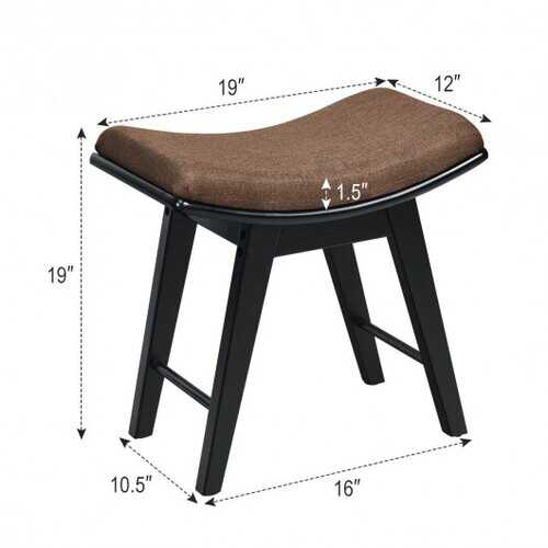 Modern Dressing Makeup Stool with Concave Seat Rubberwood Legs-Black - Color: Black
