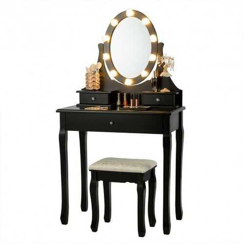 3 Drawers Lighted Mirror Vanity Dressing Table Stool Set-Black - Color: Black - NorCal Cyber Sales