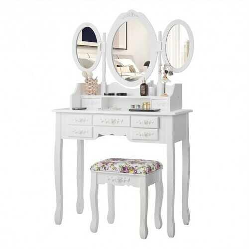 7 Drawer Tri-Folding Mirror Dressing Vanity Makeup Set-White - Color: White - NorCal Cyber Sales