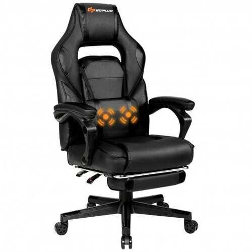 Massage Gaming Chair with Footrest and Lumbar Support-Black - Color: Black - NorCal Cyber Sales