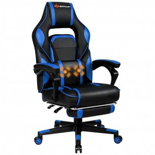 "Massage Gaming Chair with Footrest and Lumbar Support - Color: Blue - Size: 26.5"" x 26.5"" x (49""-52.5"") - NorCal Cyber Sales"