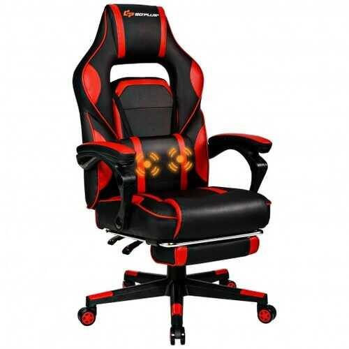 "Massage Gaming Chair with Footrest and Lumbar Support - Color: Red - Size: 26.5"" x 26.5"" x (49""-52.5"") - NorCal Cyber Sales"