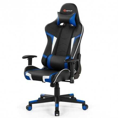 Reclining Swivel Massage Gaming Chair with Lumbar Support-Blue - Color: Blue - NorCal Cyber Sales