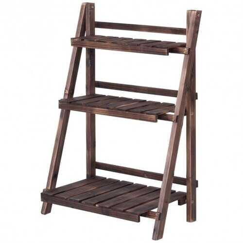 3 Tier Outdoor Wood Design Folding Display Flower Stand - NorCal Cyber Sales