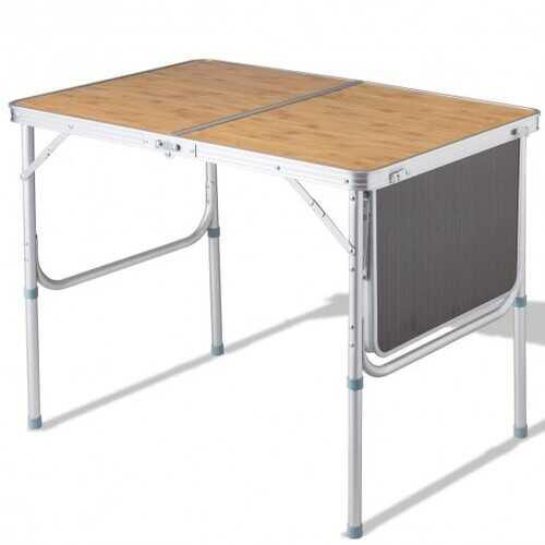 Aluminum Folding Picnic Camping Table with MDF Table Top - NorCal Cyber Sales