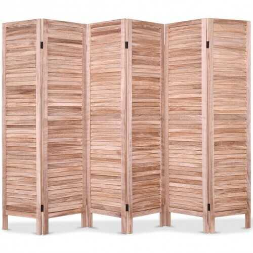 6 Panels Classic Venetian Wooden Slat Room Screen-Brown - Color: Brown - NorCal Cyber Sales