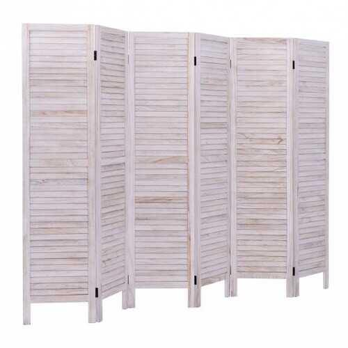 6 Panels Classic Venetian Wooden Slat Room Screen - Color: White - NorCal Cyber Sales