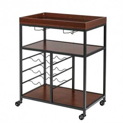 3 Tier Storage Bar Serving Cart with Wine Rack  - Color: Brown - NorCal Cyber Sales