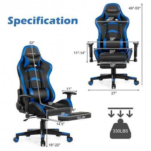 Massage Gaming Chair with Footrest-Blue - NorCal Cyber Sales