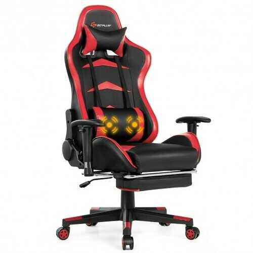 Massage Gaming Chair with Footrest-Red - NorCal Cyber Sales