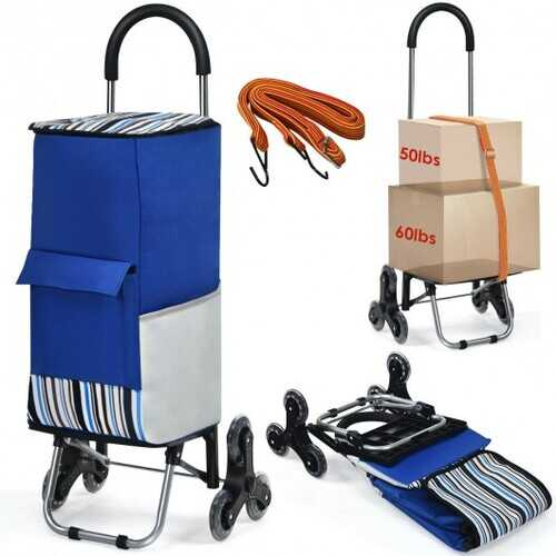 Removable Folding Shopping Cart with Bungee Cord-Blue - Color: Blue - NorCal Cyber Sales