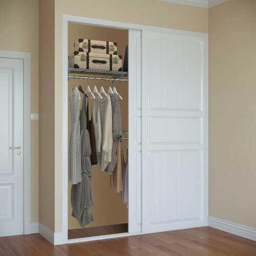Custom Closet Organizer Kit 4 to 6 ft Wall-Mounted Closet System with Hang Rod-Gray - Color: Gray - NorCal Cyber Sales