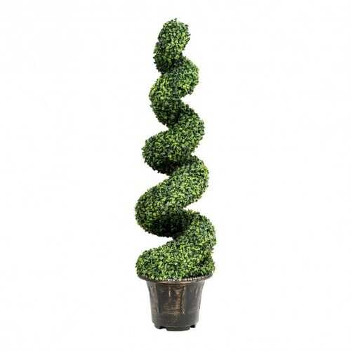 4 ft Artificial Boxwood Spiral Green Leaves Tree - NorCal Cyber Sales