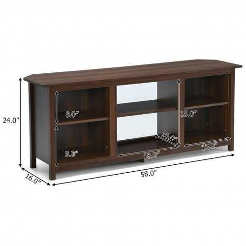 2-Tier Entertainment Media Console Center-Coffee - Color: Coffee - NorCal Cyber Sales