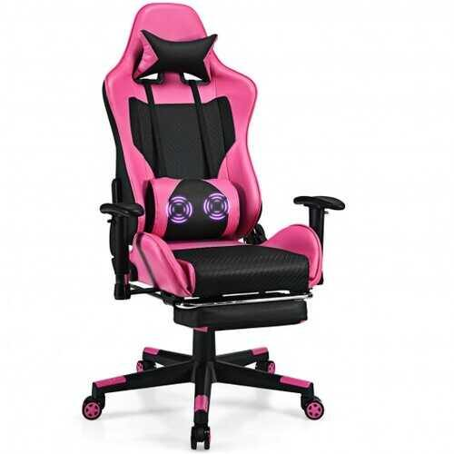 PU Leather Gaming Chair with USB Massage Lumbar Pillow and Footrest -Pink - Color: Pink - NorCal Cyber Sales