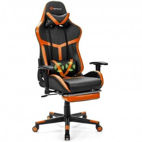 Reclining Racing Chair with Lumbar Support Footrest-Orange - Color: Orange - NorCal Cyber Sales