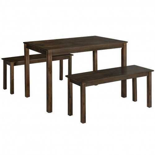 3PCS Modern Studio Collection Table Dining Set -Coffee - Color: Coffee - NorCal Cyber Sales