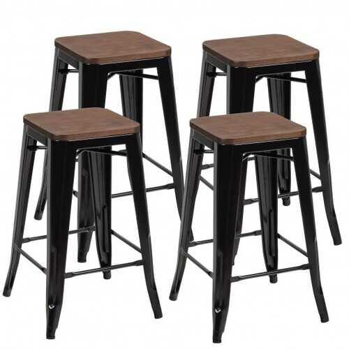 Set of 4 Counter Height Backless Barstool with Wood Seat-Black - Color: Black - NorCal Cyber Sales