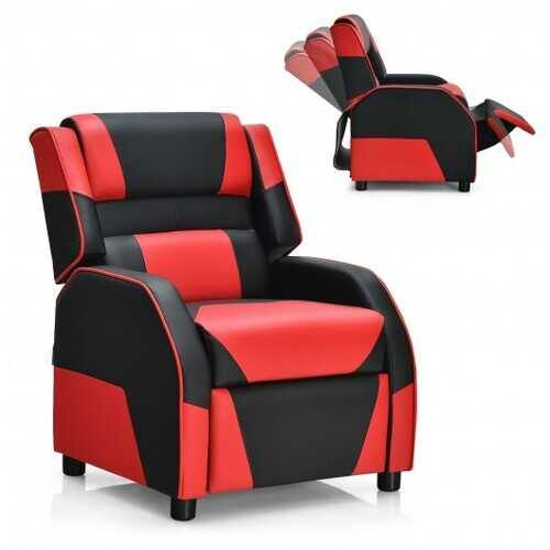 Kids Youth PU Leather Gaming Sofa Recliner with Headrest and Footrest-Red - Color: Red - NorCal Cyber Sales