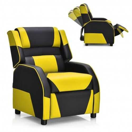 Kids Youth PU Leather Gaming Sofa Recliner with Headrest and Footrest-Yellow - Color: Yellow - NorCal Cyber Sales