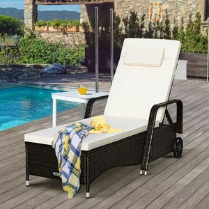 Outdoor Recliner Cushioned Chaise Lounge w/ Adjustable Backrest - NorCal Cyber Sales