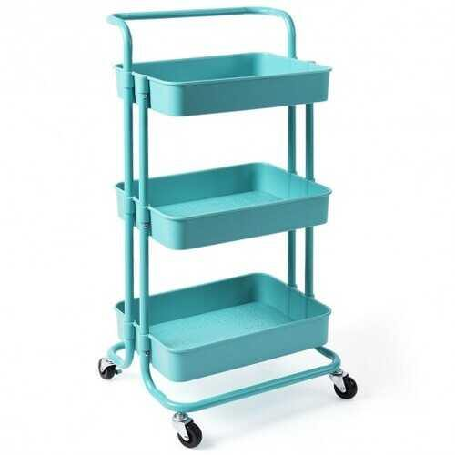 3-Tier Utility Cart Storage Rolling Cart with Casters-Blue - Color: Blue - NorCal Cyber Sales