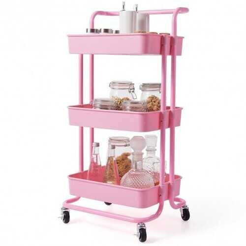3-Tier Utility Cart Storage Rolling Cart with Casters-Pink - Color: Pink - NorCal Cyber Sales