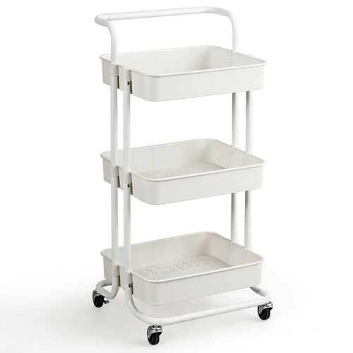 "3-Tier Utility Cart Storage Rolling Cart with Casters-White - Color: White - Size: 16.5"" x 14"" x 34"" - NorCal Cyber Sales"