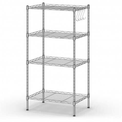 4-Wire Shelving Metal Adjustable Storage Rack with Removable Hooks-Silver - Color: Silver - NorCal Cyber Sales