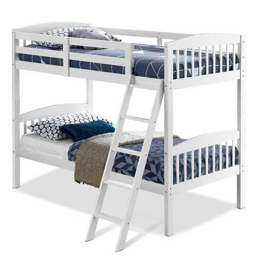 Hardwood Twin Bunk Beds with Individual Kid Bed Ladder-White - Color: White