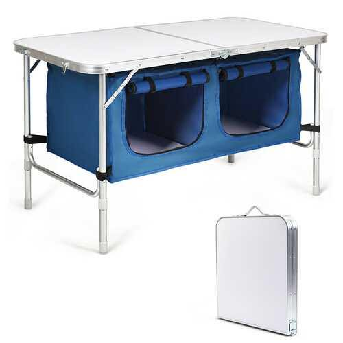 Height Adjustable Folding Camping  Table-Blue - Color: Blue