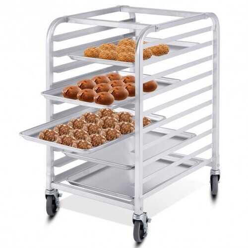 10 Sheet Aluminum Rolling Bakery Pan Rack - NorCal Cyber Sales