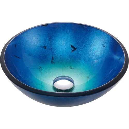Round Blue Tempered Glass Vessel Bathroom Sink - NorCal Cyber Sales