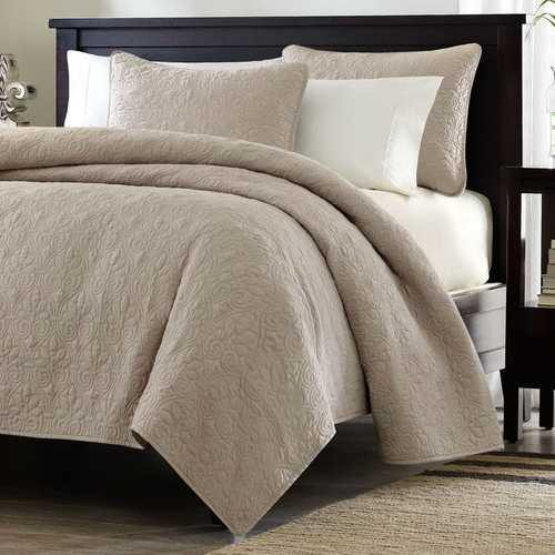 Full / Queen size Khaki Light Brown Tan Coverlet Quilt Set with 2 Shams - NorCal Cyber Sales