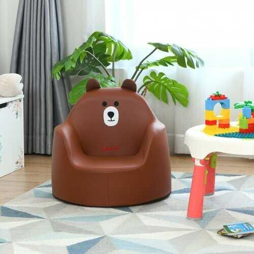 Kids Cartoon Sofa Seat Toddler Children Armchair Couch-Brown - Color: Brown