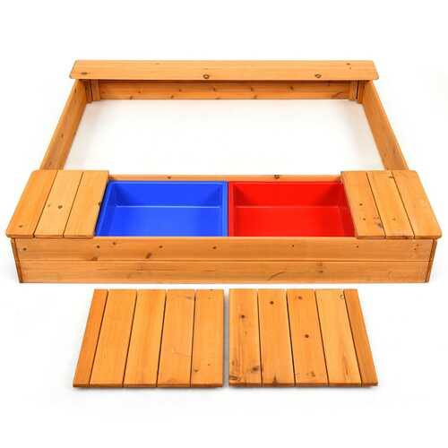 Kids Outdoor Playset Backyard Cedar Sandbox