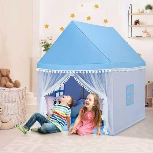 Kids Play Tent Large Playhouse Children Play Castle Fairy Tent Gift with Mat-Blue - Color: Blue