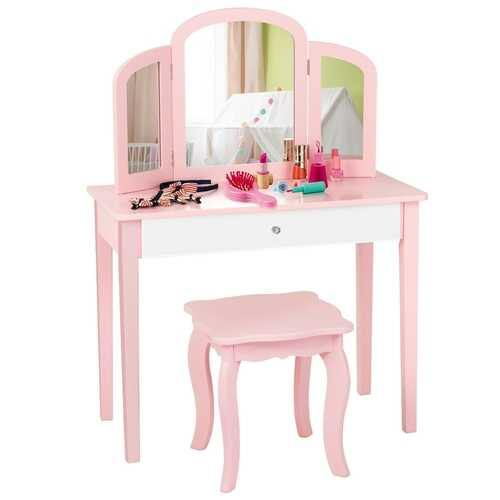Kids Princess Make Up Dressing Table with Tri-folding Mirror & Chair-Pink - Color: Pink